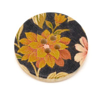 Floral (Design 5) Painted Wood Button Four Hole Natural Wood Colour 30mm