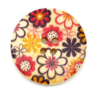 Floral (Design 6) Painted Wood Button Four Hole Natural Wood Colour 30mm