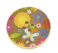 Floral (Design 7) Painted Wood Button Four Hole Natural Wood Colour 30mm
