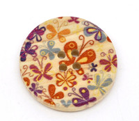 Floral (Design 8) Painted Wood Button Four Hole Natural Wood Colour 30mm