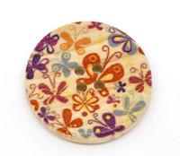 Floral (Design 8) Painted Wood Button Four Hole Natural Wood Colour 30mm