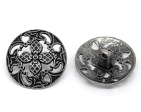 Silver Tone Metal Shank Buttons 23 mm Design No.1