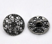 Silver Tone Metal Shank Buttons 18 mm Design No.5