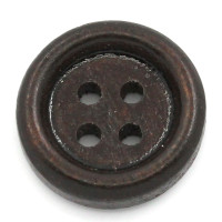 13mm Plain Wood 4 Hole Button - Dark Brown