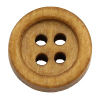 13mm Plain Wood 4 Hole Button - Honey