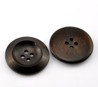 "Dark Coffee 4 Holes Round Wood Sewing Buttons 30mm (1 1/8"")"