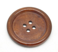 "Reddish Brown Plain Wood Large Button 4 Holes 40mm(1-5/8"")"
