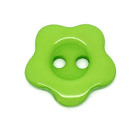 Flower Shaped 14mm Resin Button Green