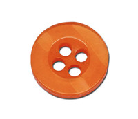 Round Plastic Buttons Four Hole 11mm Translucent Orange