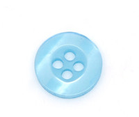 Round Plastic Buttons Four Hole 11mm Translucent Pale Blue