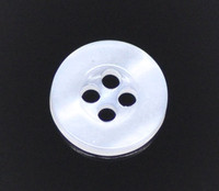 Round Plastic Buttons Four Hole 11mm Translucent White