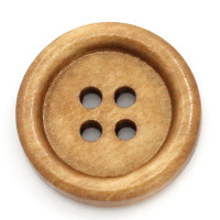 Wood Sewing Buttons  Round Light Coffee 4 Holes 20mm