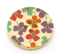 Floral (Design 10) Painted Wood Button Four Hole Natural Wood Colour 30mm