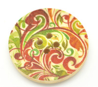 Floral (Design 17) Painted Wood Button Four Hole Natural Wood Colour 30mm