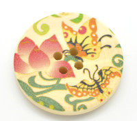 Floral (Design 19) Painted Wood Button Four Hole Natural Wood Colour 30mm