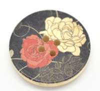 Floral (Design 27) Painted Wood Button Four Hole Natural Wood Colour 30mm