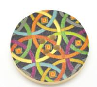 Floral (Design 23) Painted Wood Button Four Hole Natural Wood Colour 30mm