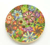 Floral (Design 24) Painted Wood Button Four Hole Natural Wood Colour 30mm