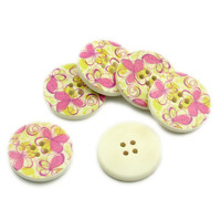 Floral (Design 25) Painted Wood Button Four Hole Natural Wood Colour 30mm