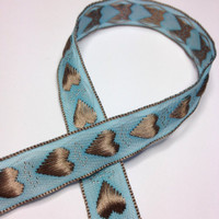 "High Quality Embroidered Ribbon ""Amore"" Heart Ribbon 15mm wide BLUE - LATTE"