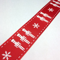 """High Quality Grosgrain Christmas Ribbon """"Toy Soldiers"""" 25 mm wide RED - WHITE"""