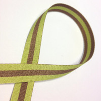 "High Quality Reversible Ribbon ""Polo Stripe"" CHARTREUSE-LATTE"