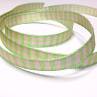 "High Quality Decorative Ribbon ""Emily"" Gingham 10mm wide PINK - APPLE"