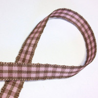 "High Quality Decorative Ribbon ""Emily"" Gingham 10mm wide PINK - LATTE"