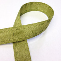 "High Quality Decorative Ribbon Natural Cotton ""Aztec Stitch"" 15mm wide OLIVE"