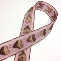 "High Quality Embroidered Ribbon ""Amore"" Heart Ribbon 15mm wide PINK - LATTE"