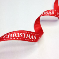 "High Quality Grosgrain Christmas Ribbon ""Merry Christmas"" 10mm wide RED - WHITE"