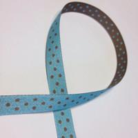 "High Quality Reversible Ribbon ""Polo Spots"" BLUE-LATTE"