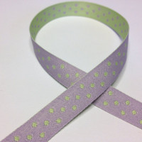 "High Quality Reversible Ribbon ""Polo Spots"" LAVENDER - MINT"