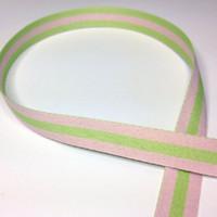 "High Quality Reversible Ribbon ""Polo Stripe"" Pink-Apple"