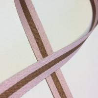 """High Quality Reversible Ribbon """"Polo Stripe"""" Pink-Latte"""