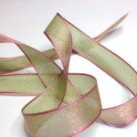 "High Quality Decorative Ribbon ""Monet"" Super Fine Satin Ribbon 13 mm wide PINK - GREEN"