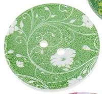 Wood Painted  2 Holes Green Flower Pattern (Design 2) 4cm
