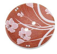 Wood Painted  2 Holes Red Flower Pattern (Design 2) 4cm