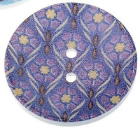 Wood Painted  2 Holes Purple Pattern 4cm