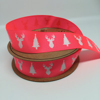 High Quality Deer & Tree Grosgrain Neon Pink Ribbon