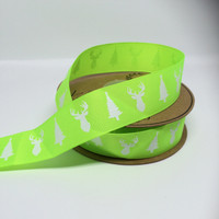High Quality Deer & Tree Grosgrain Neon Lime Ribbon