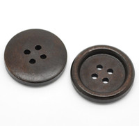 Plain Round Wood Button Four Hole Dark Brown Colour 25mm