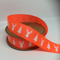 High Quality Deer & Tree Grosgrain Neon Orange Ribbon