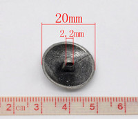 Silver Tone Metal Shank Buttons 20 mm Design No.3