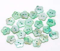 Shell Button Flower Shaped Green 14mm