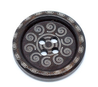 Tribal Round Wood Button Four Hole Dark Brown Colour 25mm