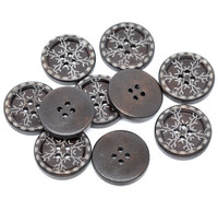 Snowflake Round Wood Button Four Hole Dark Brown Colour 25mm