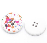 White Wood Painted Button - Paint Splatter