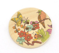 Natural Painted Button -Nature Themed Bird & Flower
