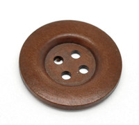 Round Extra Large Wood Button (Design 2) Four Hole Reddish Brown Colour 40 mm